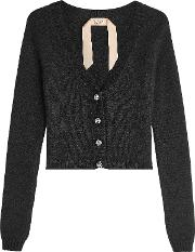 N&deg 21 Cardigan With Angora, Wool And Embellished Buttons