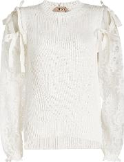 N&deg 21 Cotton Pullover With Lace Sleeves
