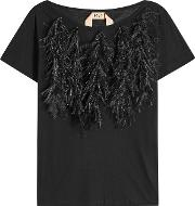 N&deg 21 Cotton T Shirt With Ostrich Feathers
