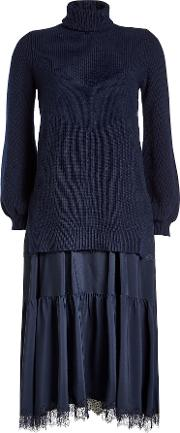 N&deg 21 Dress With Fleece Wool Pullover And Satin Skirt