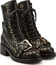 N&deg 21 Embellished Leather Ankle Boots