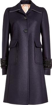 N&deg 21 Embellished Wool Coat With Cashmere