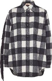 N&deg 21 Flannel Shirt With Sequinned Fringes