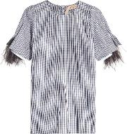 N&deg 21 Plaid Cotton Blouse With Ostrich Feathers