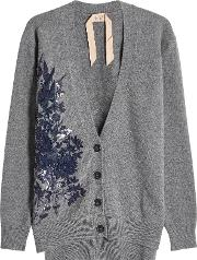 N&deg 21 Wool Cardigan With Sequins And Embroidery