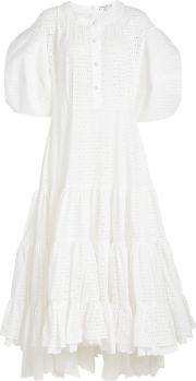 Cotton Dress With Eyelet Cut Out Detail