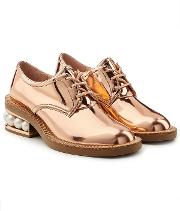 Casati Metallic Leather Lace Ups With Pearls