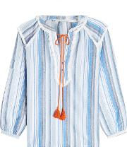Striped Cotton Blouse With Tassels