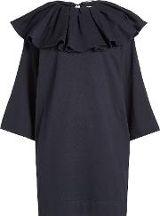 Jersey Dress With Ruffled Collar