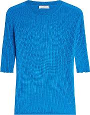 Ribbed Cashmere Pullover With Silk