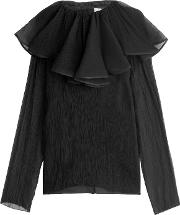 Silk Crepe Blouse With Ruffled Collar