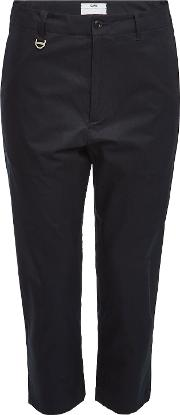 Cropped Cotton Pants With Zippers