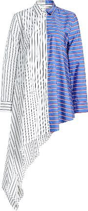 Off White Asymmetric Striped Cotton Blouse