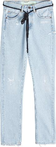 Off White Distressed Slim Jeans