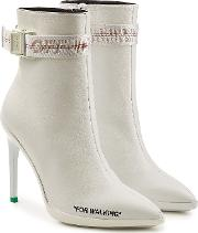 Off White For Walking Leather Ankle Boots