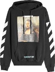 Off White Printed Cotton Hoodie