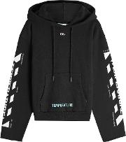 Off White Printed Cotton Hoody