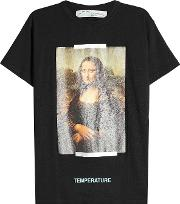 Off White Printed Cotton T Shirt