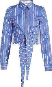 Off White Striped Cotton Shirt With Ruffled Trims