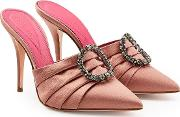 Satin Mules With Embellishment