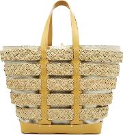 Cage East West Straw Tote With Cotton