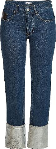 Cropped Jeans With Contrast Cuffs