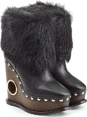 Leather Wedge Boots With Fur