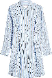 Striped Cotton Shirt Dress With Lace Up Detail