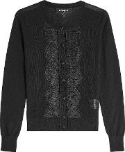 Lace Trimmed Cardigan With Wool And Silk