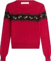 Virgin Wool Pullover With Embroidery