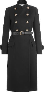 Wool Coat With Belt And Embossed Buttons