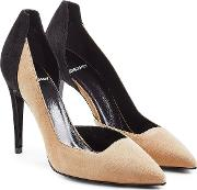 Two Tone Suede Pumps