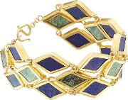 Gold Plated Silver Bracelet With Chrysocolla And Lapis