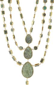 Gold Plated Silver Necklace With Chrysocolla Stones