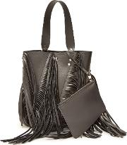 Medium Hex Bucket Bag With Leather And Fringe