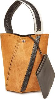 Medium Hex Bucket Bag With Suede And Leather