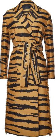 Printed Wool Coat With Silk