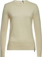 Zipper Trim Pullover With Wool, Silk And Cashmere