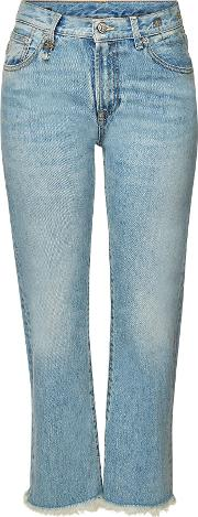 Bowie Straight Leg Jeans With Distressed Detail