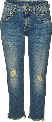Boy Straight Leg Jeans With Distressed Detail