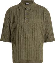 Ribbed Polo Shirt With Cotton And Wool