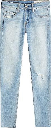 Distressed Jeans With Cropped Ankle