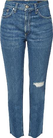 Cropped High Rise Skinny Jeans With Distressed Detail