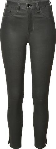 High Rise Ankle Skinny Leather Pants