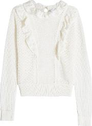 Knitted Cotton Pullover With Ruffle Detail