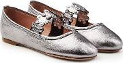 Metallic Leather Ballerinas With Stud Embellishment