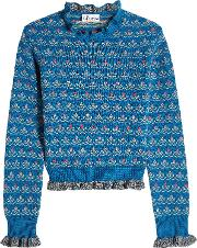 Red Valentino Printed Wool Pullover With Ruffled Trims
