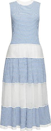 Striped Cotton Maxi Dress With Point D'esprit Tulle