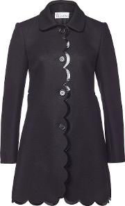 Wool Coat With Patent Trims
