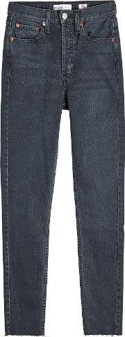 Cropped High Rise Straight Leg Jeans